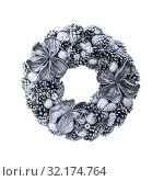 Christmas or New Year decorative natural hand-made wreath of silver gray cones on a white background. Стоковое фото, фотограф Светлана Евграфова / Фотобанк Лори