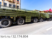 Купить «Russian mobile ballistic missile system 9K720 Iskander», фото № 32174804, снято 5 мая 2018 г. (c) FotograFF / Фотобанк Лори