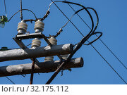 Купить «Старый деревянный электрический столб с керамическим изоляторами», фото № 32175112, снято 13 сентября 2019 г. (c) А. А. Пирагис / Фотобанк Лори