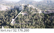Купить «Aerial view of medieval fortress Xativa Castle at sunny day, Valencia, Spain», видеоролик № 32176260, снято 16 апреля 2019 г. (c) Яков Филимонов / Фотобанк Лори