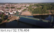 Купить «Panoramic aerial view of Marmande city on Garonne river on sunny summer day, Gironde, France», видеоролик № 32176404, снято 18 июля 2019 г. (c) Яков Филимонов / Фотобанк Лори