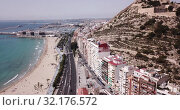 Купить «Aerial view of coastline and Santa Barbara castle in Alicante, Spain», видеоролик № 32176572, снято 17 апреля 2019 г. (c) Яков Филимонов / Фотобанк Лори