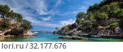 Picturesque beach Calo de ses Llises panoramic image, Calvia, Mallorca Island, Baleares, Spain (2019 год). Стоковое фото, фотограф Alexander Tihonovs / Фотобанк Лори