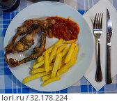 Купить «Top view of fried young rabbit», фото № 32178224, снято 16 сентября 2019 г. (c) Яков Филимонов / Фотобанк Лори