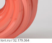 Купить «Abstract red shiny geometric shape on white», иллюстрация № 32179364 (c) EugeneSergeev / Фотобанк Лори
