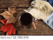Купить «Autumn flat lay with coffee cup», фото № 32180916, снято 13 августа 2019 г. (c) Wavebreak Media / Фотобанк Лори