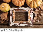 Купить «Autumn flat lay with pumpkins», фото № 32180932, снято 13 августа 2019 г. (c) Wavebreak Media / Фотобанк Лори