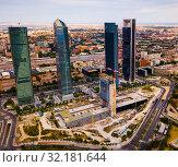 Aerial view of four Towers Business Area (Cuatro Torres) in Madrid (2019 год). Редакционное фото, фотограф Яков Филимонов / Фотобанк Лори