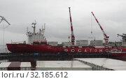 Купить ««Севморпуть» — ледокольно-транспортное судно (лихтеровоз) с атомной силовой установкой», видеоролик № 32185612, снято 26 августа 2019 г. (c) А. А. Пирагис / Фотобанк Лори