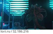 Купить «An arachnid alien with many limbs - samples of aliens in secret laboratory», видеоролик № 32186216, снято 19 октября 2019 г. (c) Константин Шишкин / Фотобанк Лори