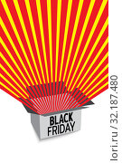 Black friday sale banner. Red radial rays fly out of box. Banner for sale with space for text. Template for use on flyer, poster, booklet. Vector. Стоковая иллюстрация, иллюстратор Dmitry Domashenko / Фотобанк Лори
