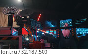 Купить «RUSSIA, KAZAN 10-09-2019: Secret Alien Research Lab - A Robot Controls the Work in thouse Walls», видеоролик № 32187500, снято 20 октября 2019 г. (c) Константин Шишкин / Фотобанк Лори