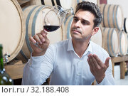 Купить «Positive male expert holding glass of red wine in shop», фото № 32188408, снято 13 декабря 2019 г. (c) Яков Филимонов / Фотобанк Лори