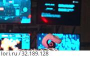 Купить «Secret Alien Research Lab - A Robot Controls the Work in thouse Walls - electric current generating machine on the foreground - lightning - technology exhibition», видеоролик № 32189128, снято 19 октября 2019 г. (c) Константин Шишкин / Фотобанк Лори