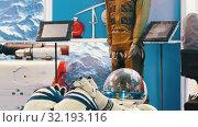Купить «Spacesuits on the aircraft technology exhibition», видеоролик № 32193116, снято 19 сентября 2019 г. (c) Константин Шишкин / Фотобанк Лори