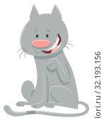 Cartoon Illustration of Happy Gray Cat Animal Mascot Character. Стоковое фото, фотограф Zoonar.com/Igor Zakowski / easy Fotostock / Фотобанк Лори