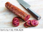Купить «Spanish dry cured pork sausage Salchichon», фото № 32194424, снято 20 сентября 2019 г. (c) Яков Филимонов / Фотобанк Лори