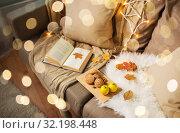 Купить «lemons, book, almond and oatmeal cookies on sofa», фото № 32198448, снято 15 ноября 2017 г. (c) Syda Productions / Фотобанк Лори