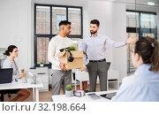 Купить «executive seeing off sad fired male office worker», фото № 32198664, снято 23 марта 2019 г. (c) Syda Productions / Фотобанк Лори