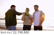 young men toasting non alcoholic beer on beach. Стоковое видео, видеограф Syda Productions / Фотобанк Лори