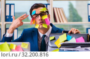 Купить «Businessman with reminder notes in multitasking concept», фото № 32200816, снято 26 сентября 2017 г. (c) Elnur / Фотобанк Лори