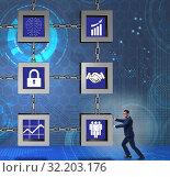 Businessman in blockchain cryptocurrency concept. Стоковое фото, фотограф Elnur / Фотобанк Лори