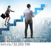 Купить «Businessman helping colleague to progress in career ladder», фото № 32203196, снято 5 июля 2020 г. (c) Elnur / Фотобанк Лори