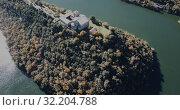 Купить «Aerial view of Sant Pere de Casserres - Benedictine monastery in Spain», видеоролик № 32204788, снято 17 ноября 2018 г. (c) Яков Филимонов / Фотобанк Лори