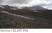 Купить «Volcanic landscape: time lapse view of cone active volcano geothermal clouds eruption from crater», видеоролик № 32207916, снято 16 августа 2019 г. (c) А. А. Пирагис / Фотобанк Лори