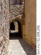 Купить «View of street fortified town Monemvasia (Laconia, Greece, Peloponnese)», фото № 32208296, снято 15 июня 2019 г. (c) Татьяна Ляпи / Фотобанк Лори