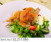 Купить «Tobacco quail with vegetable garnish», фото № 32211080, снято 21 ноября 2019 г. (c) Яков Филимонов / Фотобанк Лори