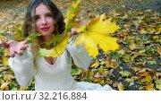 Купить «Autumn girl blowing on bouquet of fall leaves», видеоролик № 32216884, снято 23 сентября 2019 г. (c) Gennadiy Poznyakov / Фотобанк Лори