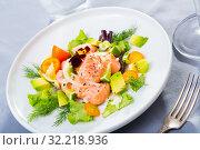 Купить «Fish ceviche with avocado, kumquat, dill», фото № 32218936, снято 14 декабря 2019 г. (c) Яков Филимонов / Фотобанк Лори