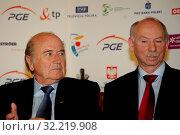 18.09.2010 Warsaw, Poland. Pictured: Joseph Sepp Blatter and Janusz Lewandowski. Редакционное фото, фотограф Romian Mateusz / age Fotostock / Фотобанк Лори