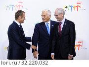 Купить «29.09.2011 Warsaw, Poland. Eastern Partnership Summit. Pictured: Jerzy Buzek, Donald Tusk, Herman van Rompuy», фото № 32220032, снято 22 октября 2019 г. (c) age Fotostock / Фотобанк Лори
