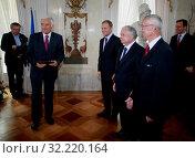 9.06.2009 Warsaw, Poland. Pictured: Jerzy Buzek, Donald Tusk, Lech Kaczynski, Ferdynard Rymarz. Редакционное фото, фотограф jackowski henryk / age Fotostock / Фотобанк Лори