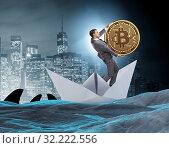 Купить «Businessman rowing on dollar boat in business financial concept», фото № 32222556, снято 5 июля 2020 г. (c) Elnur / Фотобанк Лори