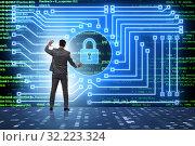 Man in digital security concept pressing button. Стоковое фото, фотограф Elnur / Фотобанк Лори
