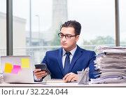 Купить «Workaholic businessman overworked with too much work in office», фото № 32224044, снято 11 октября 2016 г. (c) Elnur / Фотобанк Лори