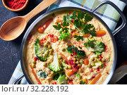 Купить «broccoli cheddar cheese soup in a metal pot», фото № 32228192, снято 19 апреля 2019 г. (c) Oksana Zh / Фотобанк Лори