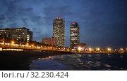 Купить «Twilight view of Port Olimpic. Center of nightlife of Barcelona», видеоролик № 32230424, снято 13 июня 2019 г. (c) Яков Филимонов / Фотобанк Лори