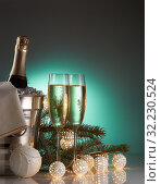 Купить «Champagne and Christmas and New Year decorations», фото № 32230524, снято 1 декабря 2018 г. (c) Мельников Дмитрий / Фотобанк Лори