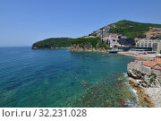 Купить «View of the city of Budva from the Mediterranean Sea, Montenegro», фото № 32231028, снято 13 июня 2019 г. (c) Володина Ольга / Фотобанк Лори