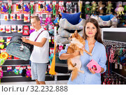 Купить «Attractive young woman with cute puppy in hands buying dog accessories in store», фото № 32232888, снято 13 декабря 2019 г. (c) Яков Филимонов / Фотобанк Лори