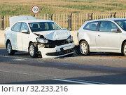 Купить «car crash accident on street. damaged automobiles», фото № 32233216, снято 12 сентября 2019 г. (c) Дмитрий Калиновский / Фотобанк Лори