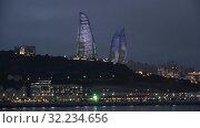 Купить «Вид на Пламенные башни декабрьским вечером. Баку, Азербайджан», видеоролик № 32234656, снято 30 сентября 2019 г. (c) Виктор Карасев / Фотобанк Лори