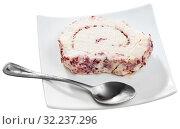Купить «Cheese with cranberries and pasteurized milk on plate», фото № 32237296, снято 6 июня 2020 г. (c) Яков Филимонов / Фотобанк Лори