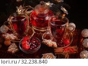Купить «Fruit tea. Christmas and New Year composition.», фото № 32238840, снято 3 декабря 2018 г. (c) Мельников Дмитрий / Фотобанк Лори