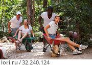 Купить «Group of people at adventure park», фото № 32240124, снято 23 января 2020 г. (c) Яков Филимонов / Фотобанк Лори