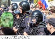 Купить «Soldiers of police special forces in riot gear», фото № 32240672, снято 5 мая 2018 г. (c) FotograFF / Фотобанк Лори